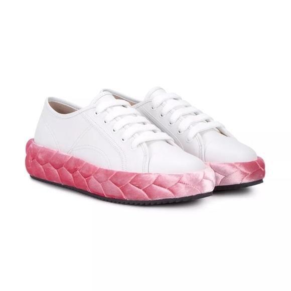 pink white. MARCO DE VINCENZO Braded Sneakers Pink White E